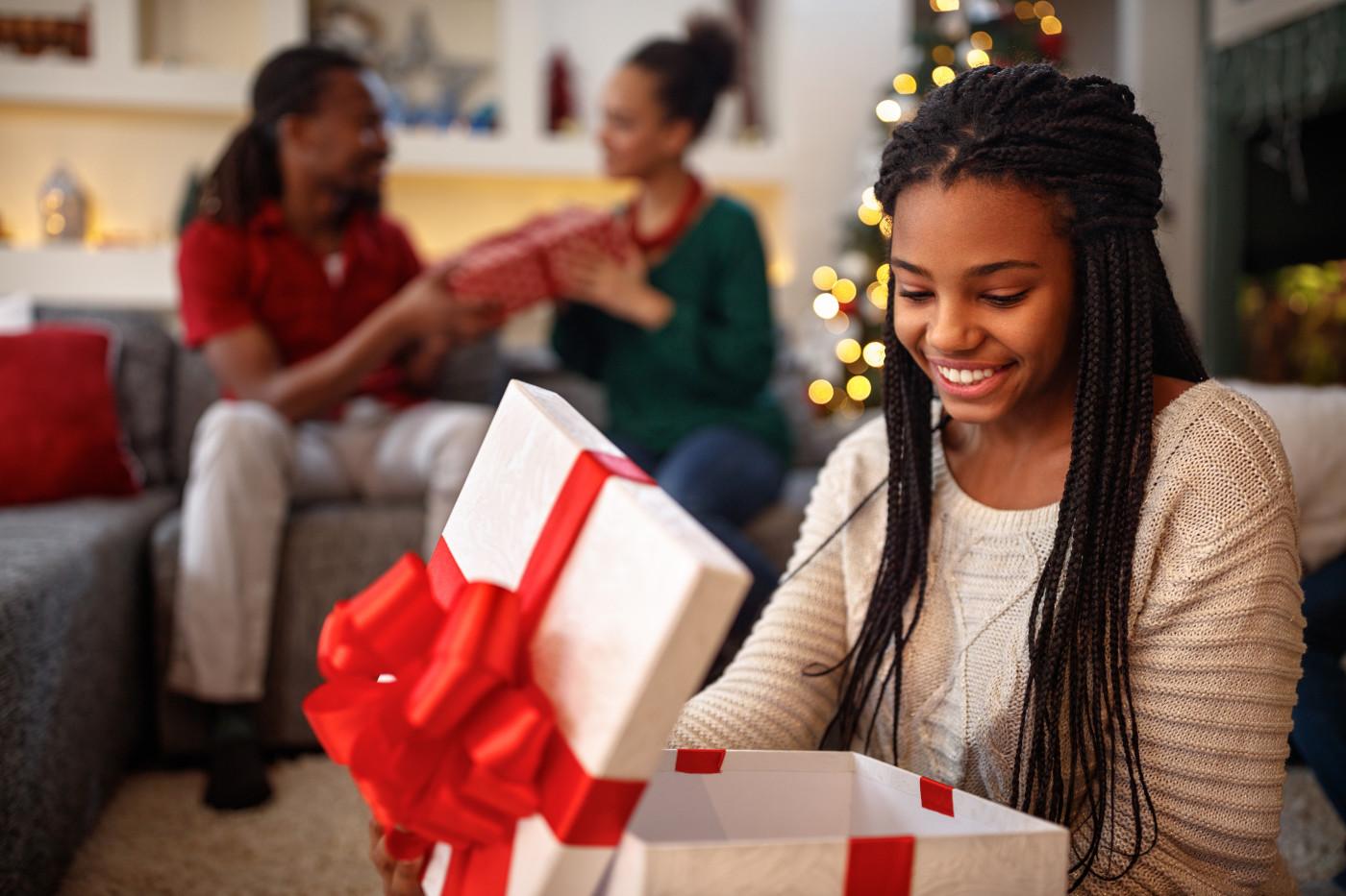 Excited gift recipient